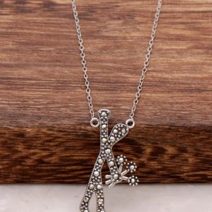 A bunch of flowers in love man marcasite stone silver necklace 429