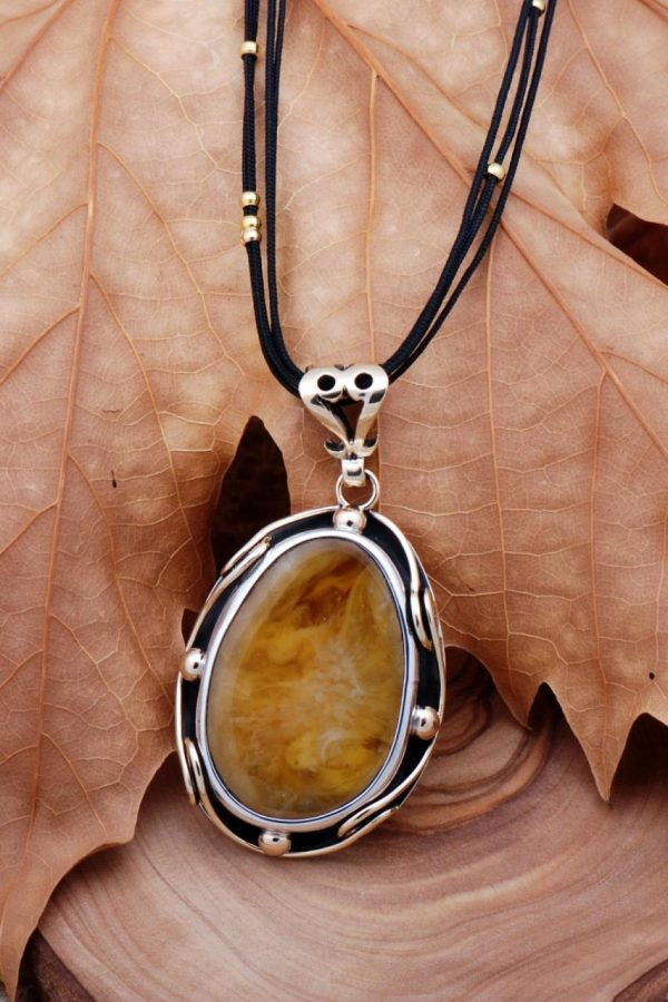 Amber Stone Handmade Silver Necklace 6747