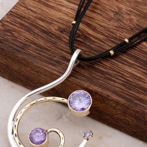 Amethyst Stone Silver Design Power Necklace 6687