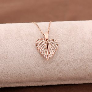 Angel Wing Heart Rose Silver Necklace 3661