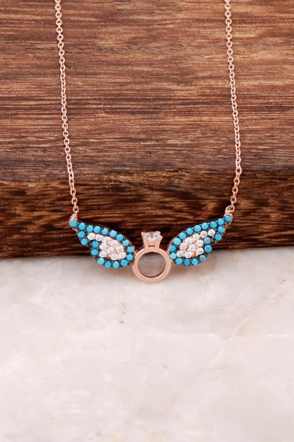 Angel Wing Single Stone Ros Silver Necklace 2271