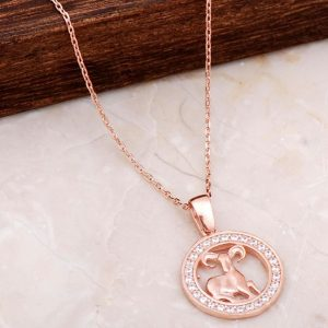 Aries Zodiac Rose Silver Necklace 6685