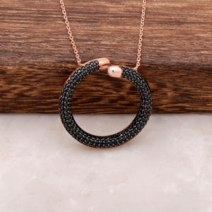 Black Sapphire Stone Ring Design Rose Silver Necklace 1269