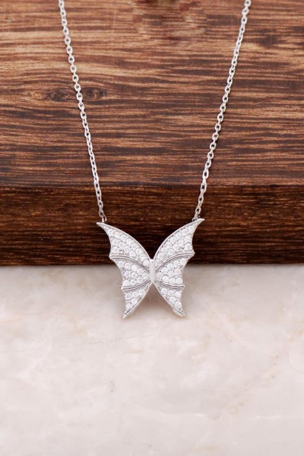 Butterfly Design Rhodium Silver Necklace 2879