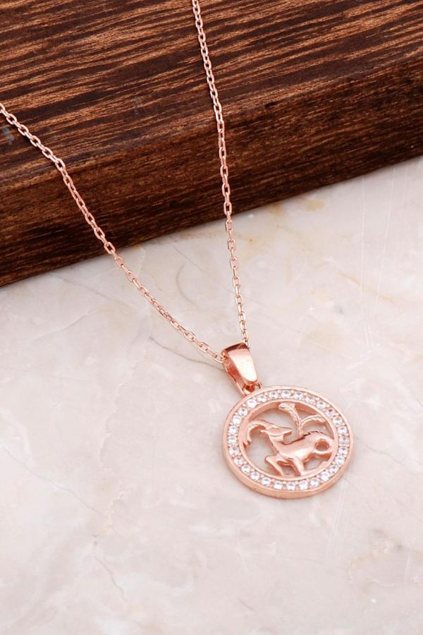 Capricorn Rose Silver Necklace 6677