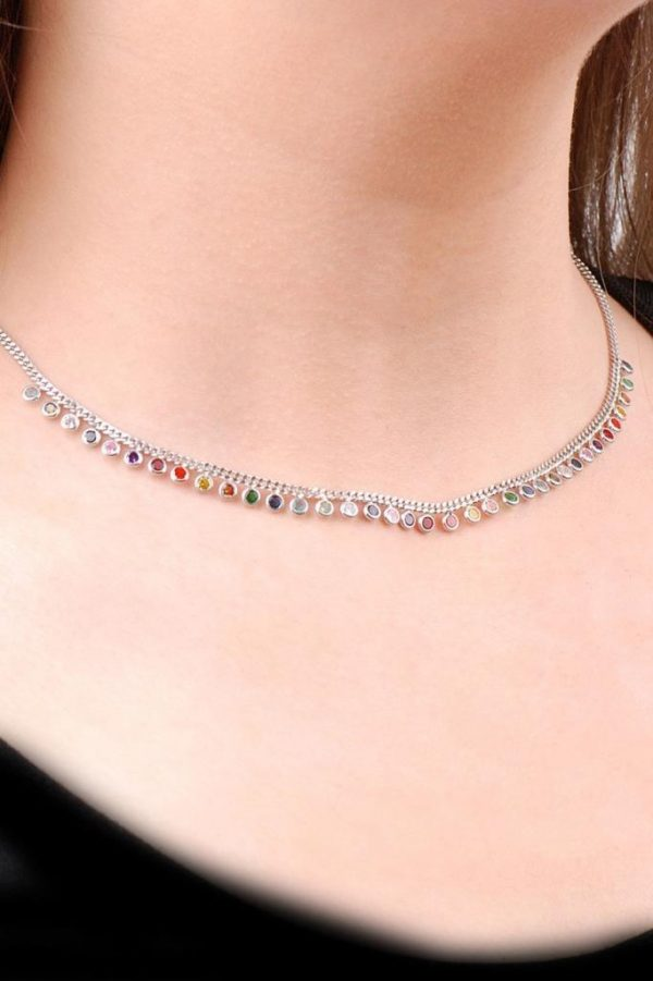 Choker Mix Design Silver Necklace 6474