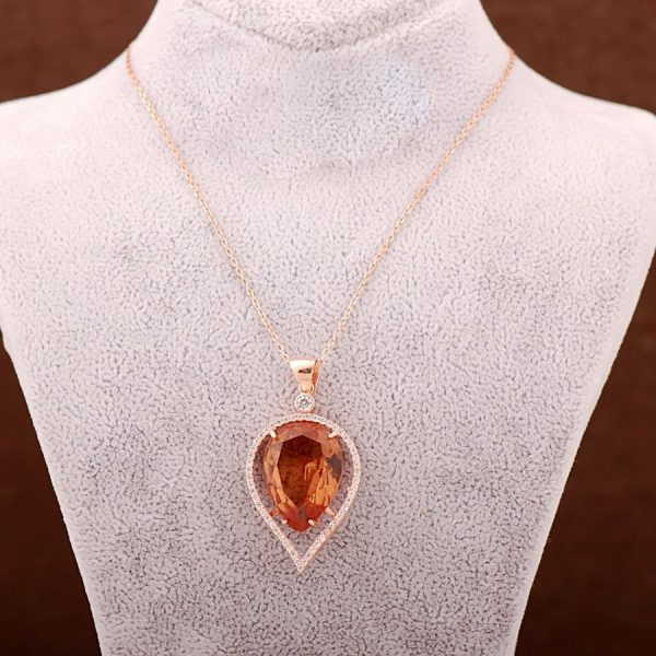 Color Changing Sultan Stone Rose Silver Necklace 3625
