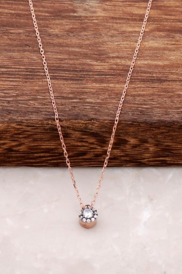 Diamond Mounted Ros Silver Necklace 965