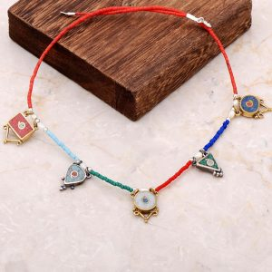 Natural Stone Mosaic Engraved Silver Necklace 6841