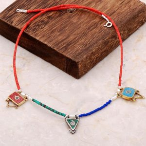 Natural Stone Mosaic Engraved Silver Necklace 6845