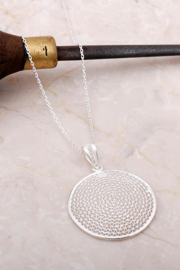 Filigree Embroidered Silver Necklace 6897