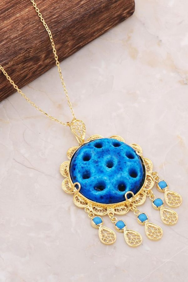 Filigree Engraved Assyrian Evil Eye Bead Necklace with Gold Gilding 6716