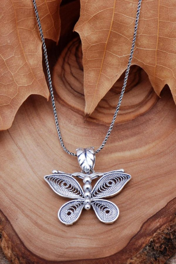 Filigree Engraved Butterfly Silver Necklace 6774