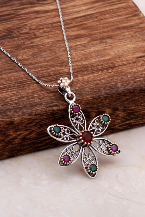 Filigree Engraved Flower Silver Necklace 6789