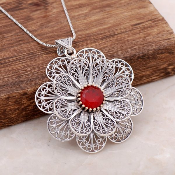 Filigree Engraved Root Ruby Stone Design Necklace 3884