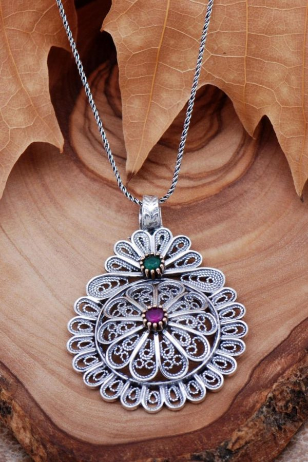 Filigree Engraved Silver Necklace 6759