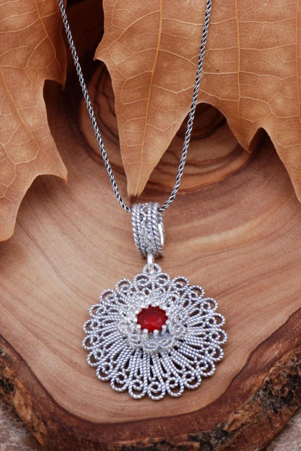 Filigree Inlaid Sterling Silver Necklace 6768