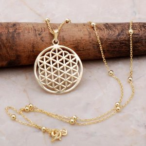 Flower of Life Gold Gilded Dorica Silver Necklace 6899