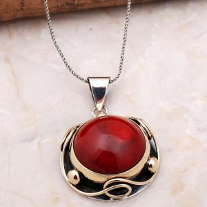 Handmade Silver Necklace with Coral Stone 6900