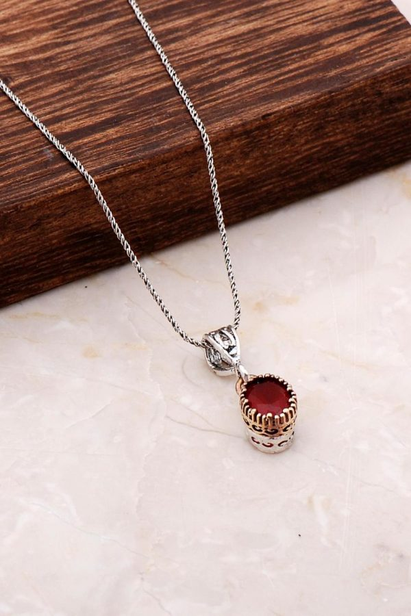 Handmade Silver Necklace with Root Ruby Stone 6815