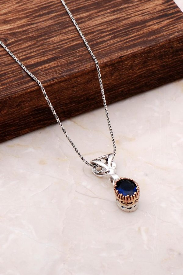 Handmade Silver Necklace with Sapphire Stone 6818