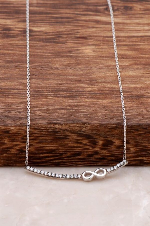 Infinity Waterway Silver Necklace with Rhodium 801