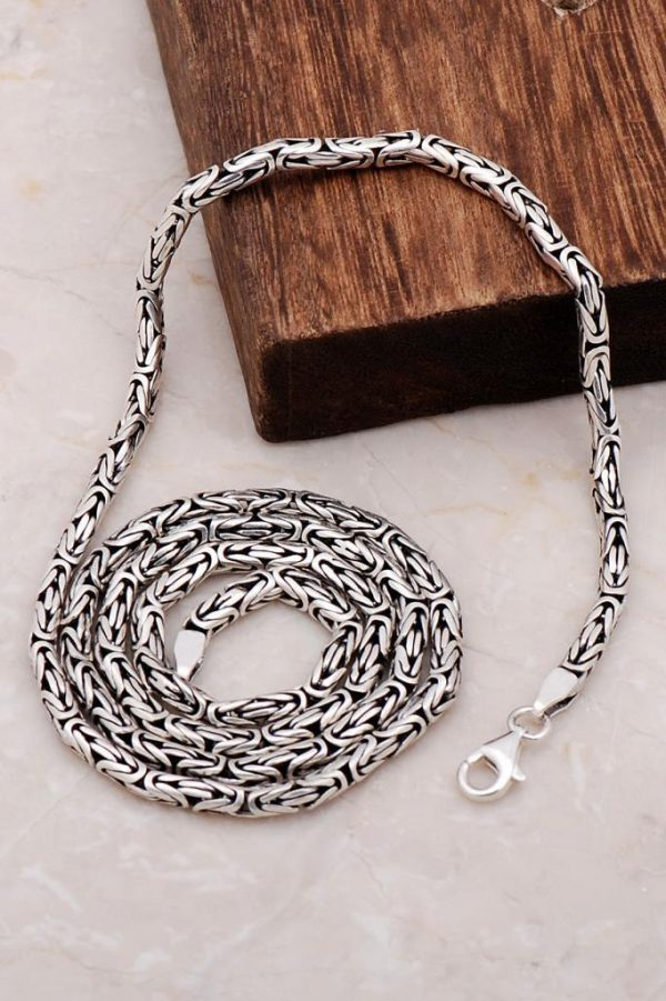 King Chain Handmade Design 60 Cm Silver Necklace 6700