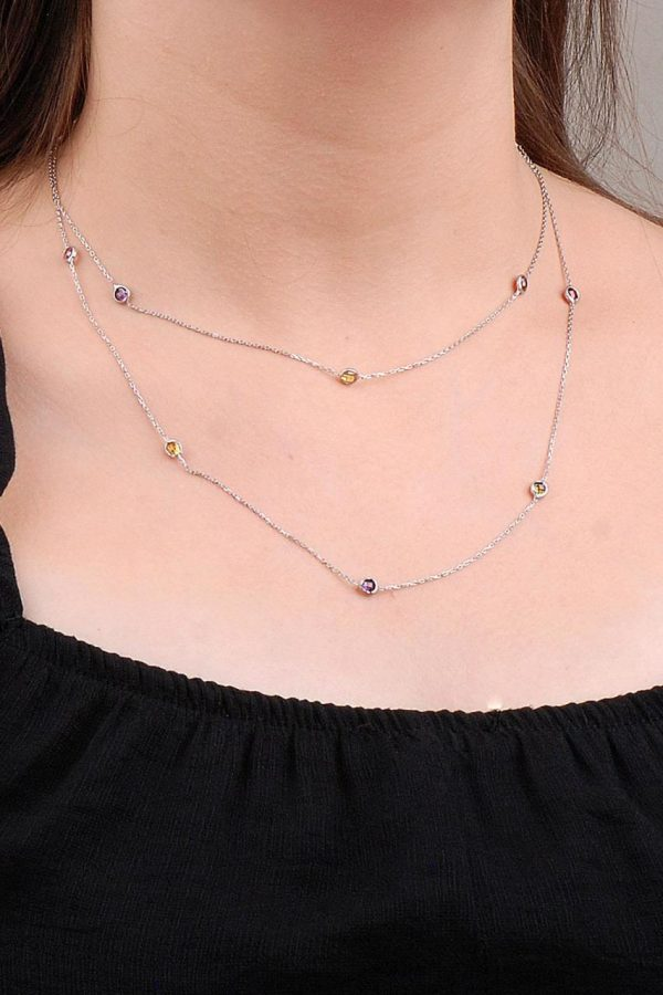 Mix Row Stone 90 Cm Silver Necklace 6632