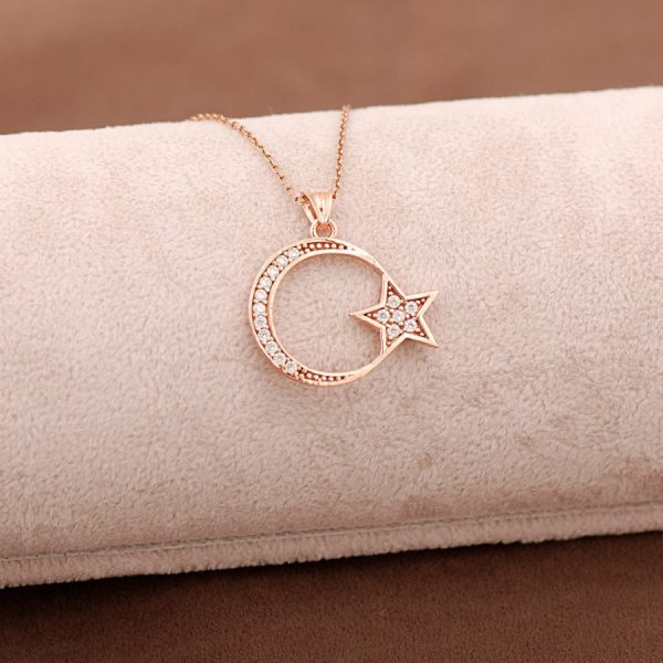 Moon Star Rose Silver Necklace 3644