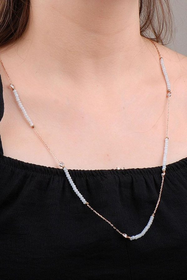 Moon Stone Types Rose Silver Necklace 6643