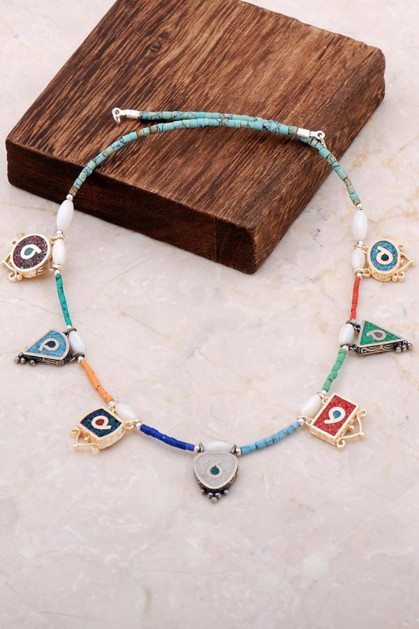 Natural Stone Mosaic Engraved Silver Necklace 6829