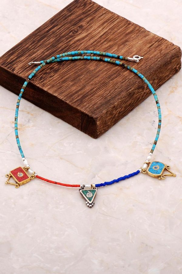 Natural Stone Mosaic Engraved Silver Necklace 6844