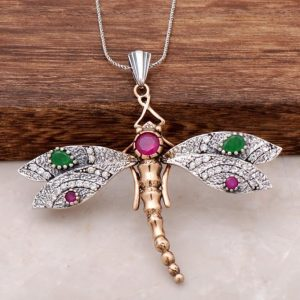 Natural Stone Silver Dragonfly Necklace 81