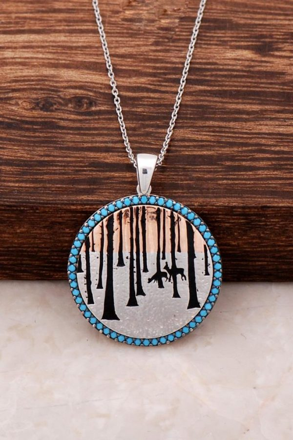 Nature Themed Turquoise Stone Design Rose Silver Plate Necklace 3161
