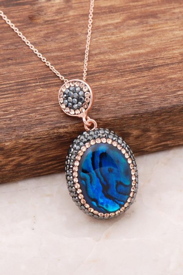 Ocean Pearl Stone Handmade Rose Silver Necklace 4008