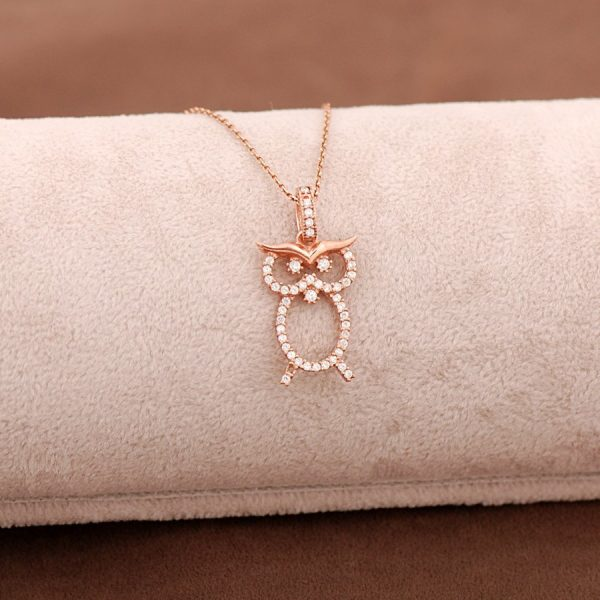 Owl Rose Silver Necklace 3656