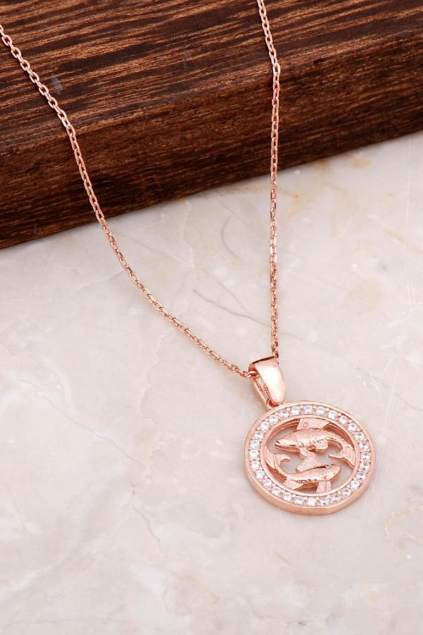 Pisces Rose Silver Necklace 6684