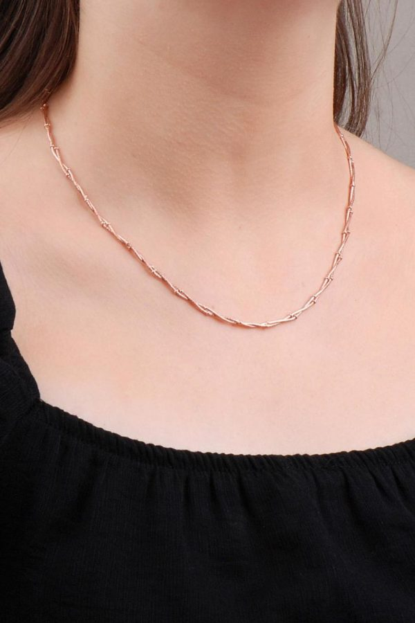 Rose Silver Ball Auger Necklace 6609