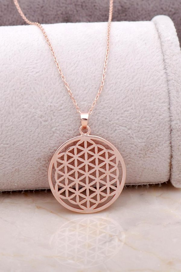 Rose Silver Flower of Life Necklace 6846