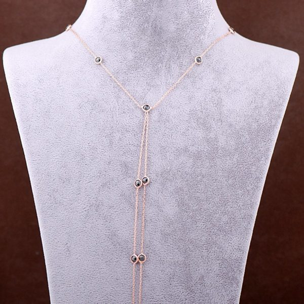 Rose Silver Onyx Stone Long Design Necklace 3356