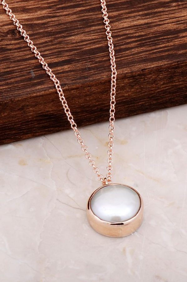 Rose Silver Pearl Stone Necklace 6697