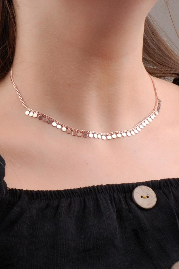 Rose Silver Sequin Choker Necklace 6573