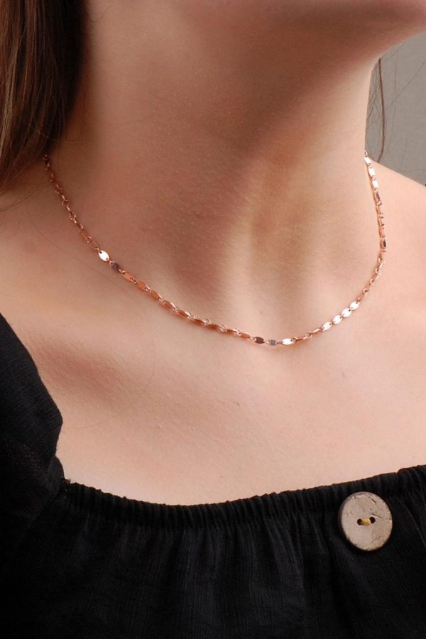 Rose Silver Sequin Necklace 6583
