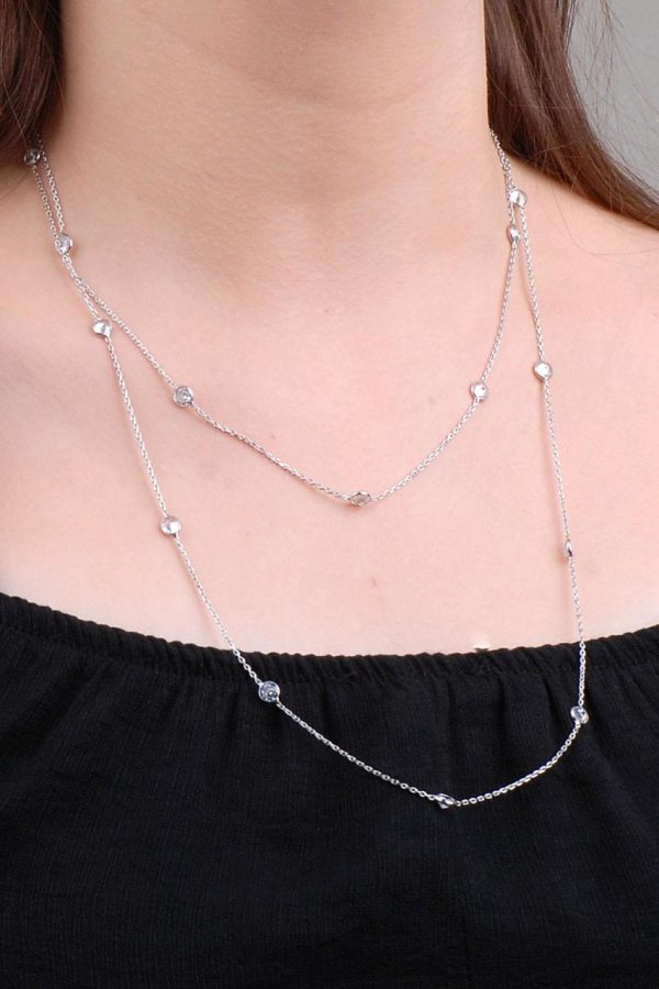 Row Stone 110 Cm Silver Chain Necklace 6628