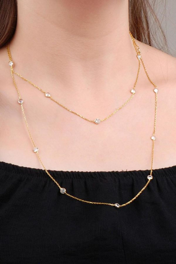 Row Stone Gold Gilded 110 Cm Silver Necklace 6630