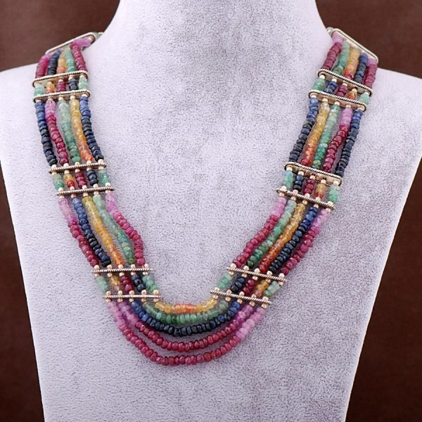 Ruby Emerald Ruby Stone String Necklace 3416