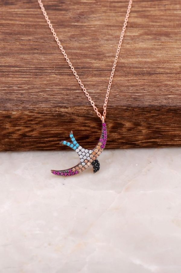Seagull Design Rose Silver Necklace 4078