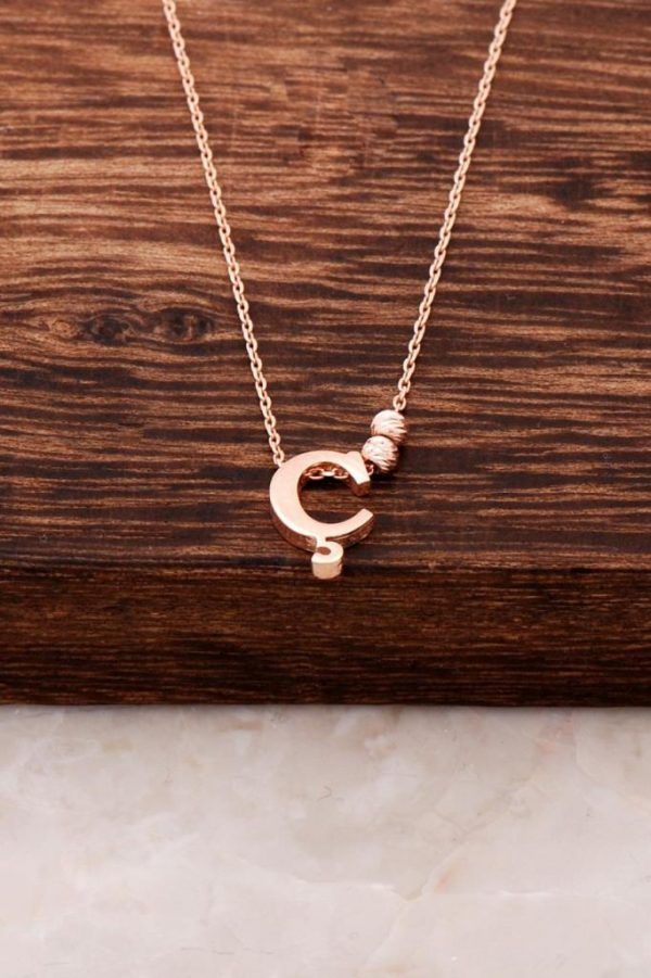 Three Letter Design Rose Silver Necklace 3798