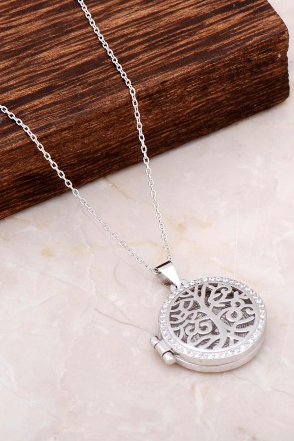 Tree of Life Covered Silver Necklace with Picture 6660