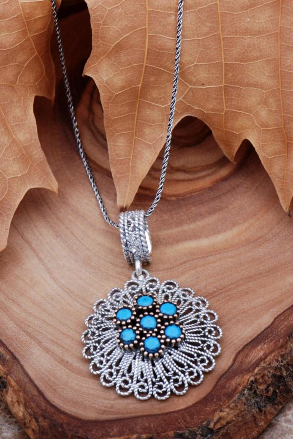 Turquoise Filigree Silver Necklace 6766